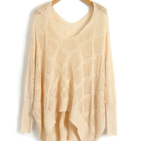 Nude V Neckline Knitted Jumper with Batwing Sleeves