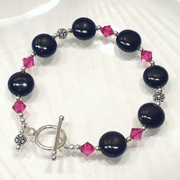 Onyx Bracelet, Onyx Beaded Bracelet, Sterling Silver and Crystal Bead Bracelet