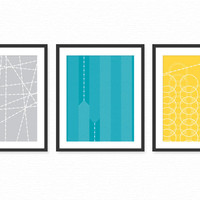 Modern Living Room Art Prints Posters - Set of 3 / Dining Room Wall Decor - Industrial Geometric Patterns 8x10 Choose Your Colors