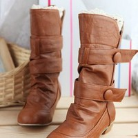 Wholesale Sweet Style Belt Embellished Short Boots Yellow  http://www.wholesale-dress.net