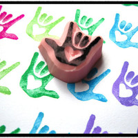 Rubber Stamp - Hand Carved - Sign Language I Love You - ASL
