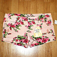 Womens Size 13 W34 Stretch Floral Pink Shorty Jean Shorts New WT Ripped & Hemmed on eBay!