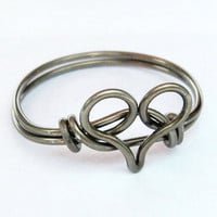 Gunmetal Heart Ring on Luulla