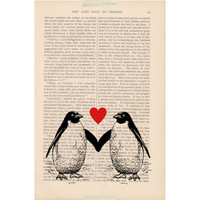 romantic dictionary art vintage two PENGUINS in LOVE print