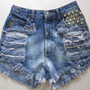 Vintage ARMANI High Waist OMBRE tie dye Bleached Destroyed trashed Denim STUDDED Cut Off jean Shorts