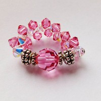Swarovski Rose Crystal Birthstone October Stretch Ring