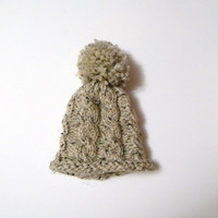 Hand Knit Cabled Baby Hat in Oatmeal with Large Pompom