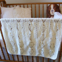 Crocheted Baby Blanket in Cream