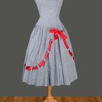 1950&#x27;s Blue &amp; White Check Red Bow Dress - M 50&#x27;s VINTAGE DRESSES :