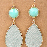 Mint Textured Stone Drop Dangle Earrings from Monica's Closet Essentials