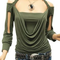 Amazon.com: Patty Women Cowl Neck Off Shoulders Long Sleeves Top: Clothing