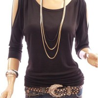 Amazon.com: Patty Women Unique Boat Neck O Ring Cut Out Shoulder 3/4 Sleeve Blouse Top: Clothing