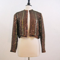 70s Jacket Vintage Sequin Sequined Brown Bronze & Gold Disco Bolero Top M I.Magnin