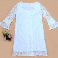 sexy women 3/4 sleeve Crochet Elegant Square lace T-shirt top dresses US10-12 L