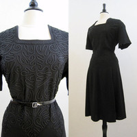 40s 50s Dress Vintage Soutache Crepe Cocktail XL Plus