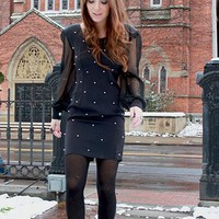 pearl studded sheer sleeved dress by sunnyandandrea on Sense of Fashion