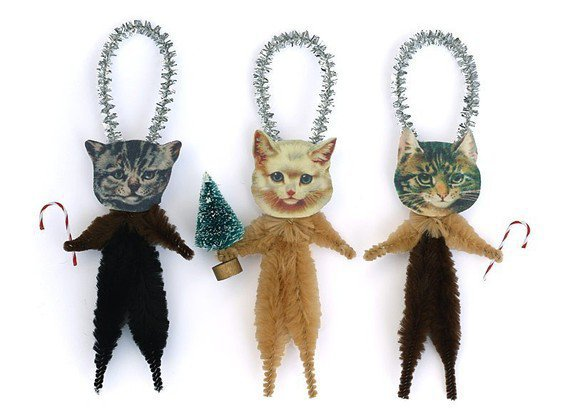 Cat Christmas Tree Ornaments Stocking by oldworldprimitives