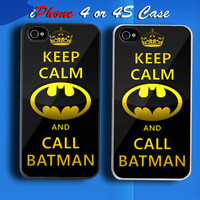 Keep Calm And Call Batman Custom iPhone 4 or 4S Case Cover from namina