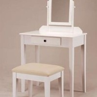 Amazon.com: White Founder Wooden Vanity Set w/ Stool &amp; Mirror: Home &amp; Kitchen