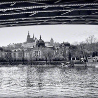 Prague photo travel print black & white photo bridge 8x12""