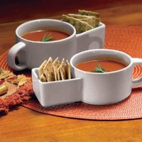 2Pc Soup And Cracker Mugs By Collections Etc: Amazon.com: Kitchen &amp; Dining