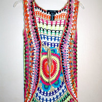 Boho Neon Crochet Open Knit Cardigan Vest
