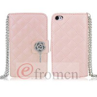 Pink Fashion PU Leather Wallet Case Cover Rhinestone Card Hold for Iphone4 4G 4S