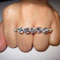 Silver Flower Beads Two Finger Ring Wire Wrapped Double Finger Ring Knuckle Ring Unique Gifts for Her Gifts Under 25