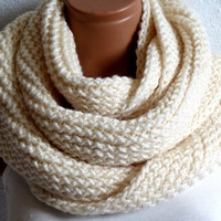 If you get two, surprise bundled,,infinity Scarf. Block infinity Scarf. Loop Scarf, Circle Scarf, Neck Warmer.Cream ivory Crochet Infinity
