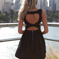 Black Heart Cutout Dress with Fitted Bodice &amp; Pleated Skirt