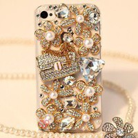 Pearl Flower Bag Bling Crystal Diamond Case Cover For Apple iphone 5 or 4&4S