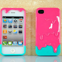 Green & Peach 3D Melt Ice Cream Skin Hard Back Case Cover For iPhone 4 4G 4S