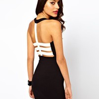 Motel Robyn Dress With PU Back at asos.com