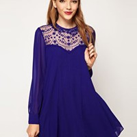 ASOS Swing Dress With Lace Insert And Peter Pan Collar at asos.com
