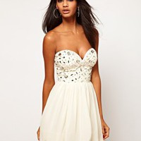 Lipsy Bandeau Dress With Embellishment at asos.com