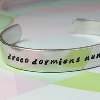 Harry Potter Bracelet Draco Dormiens Nunquam by JustDuckieDesigns