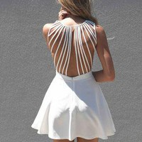 White Sleeveless Dress with Lattice Open Back