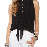 Papaya Clothing Online :: BUTTON DOWN SLEEVELESS KNOTTED BLOUSE