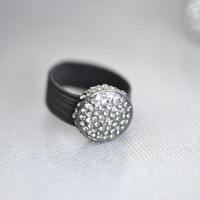 Smoke Glisten & Glimmer Ring - $16: From ourchoix.com, glisten and glimmer in this charcoal colored holiday ring that fits all!