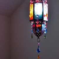 Moroccan Style Gypsy Mutli-Colored Electric Lantern MADE TO ORDER