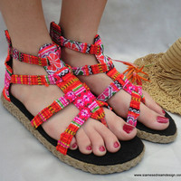 Vegan Isadora Gladiator Sandals Shoes In Brilliant Orange & Pink Hmong Embroidery