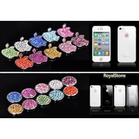 HOT Royalstone Bling Home Button and Logo Sticker for Apple iPhone iPod Case Cover-Silver