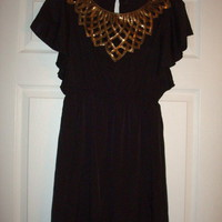 Beautiful Black and Gold Mod Cloth Dress Sz M