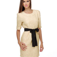 Darling Carrie Dress - Cream Dress - Jacquard Dress - $99.00