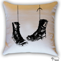 Hanging Combat Boots Cotton Canvas/Twill 14 x 14 by Linthound
