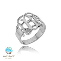 Personalized Sterling Silver 925 Monogram Ring Personalized
