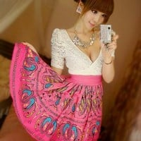 Wholesale Charming Double V-Collar Lace Quilted Peacock Dress Pink&White
