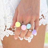 SABO SKIRT  Pastel Rock Rings - $25.00