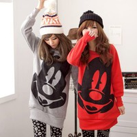 Big Face Mickey Hoddies Red/Gray