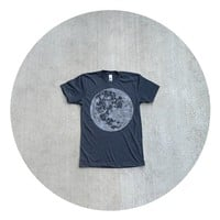 Mens t shirt - S/M/L/XL - ready to ship - full moon screenprint on American Apparel heather black tshirt - My Moon, My Man